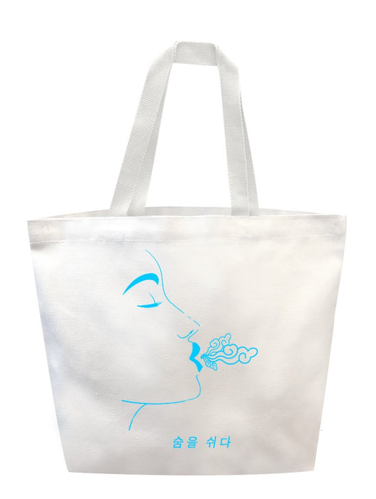 Breathe Blue Tote Tote AKP White