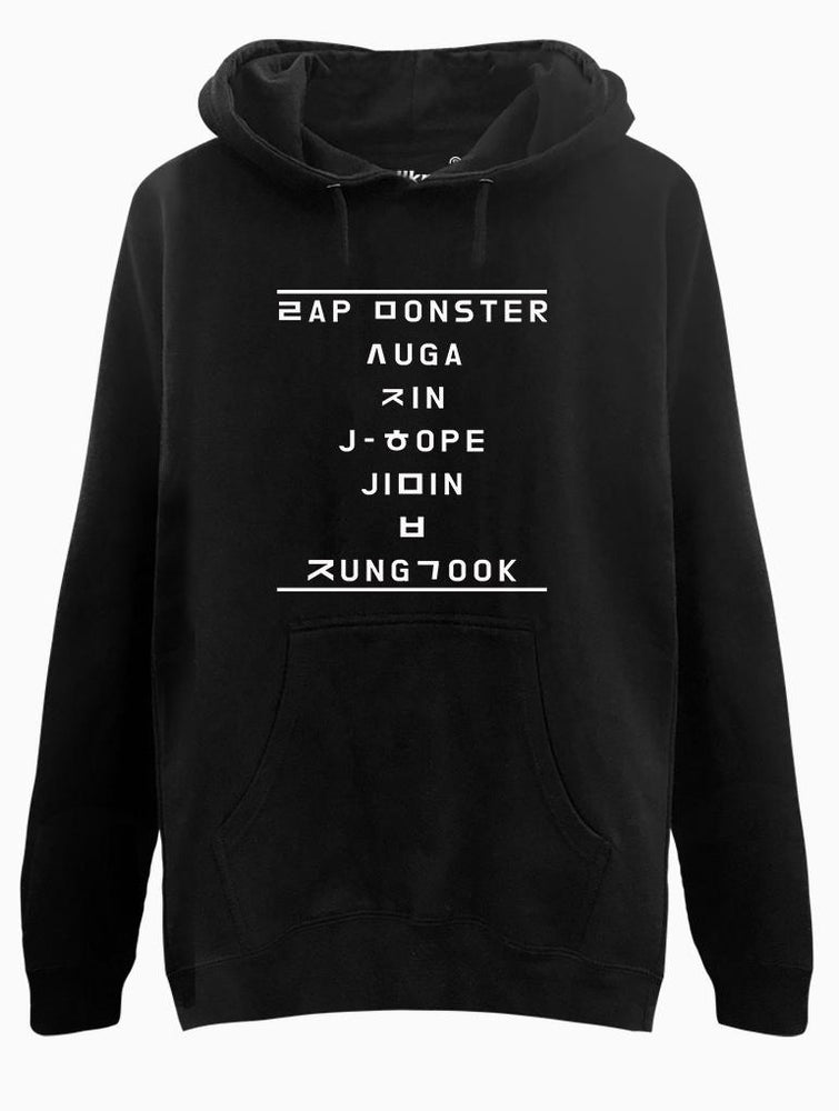 BTS Hangul Name Hoodie Hoodies AKP Unisex Black Small