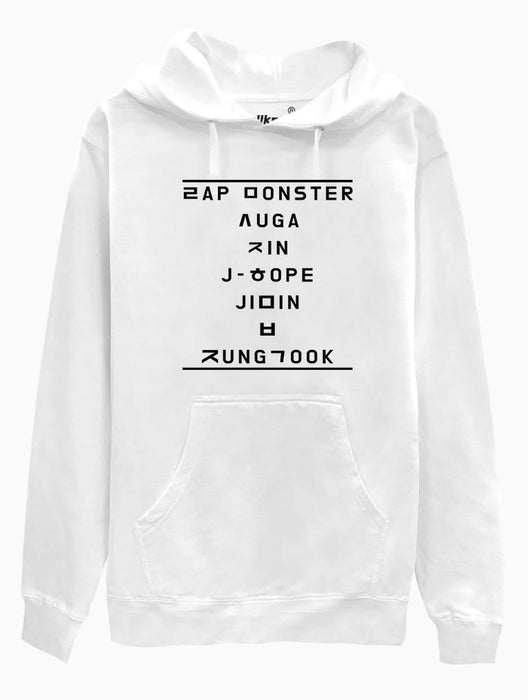 BTS Hangul Name Hoodie Hoodies AKP Unisex White Small
