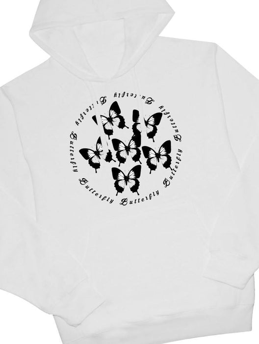 Butterfly Hoodie Hoodies AKP Unisex White Small