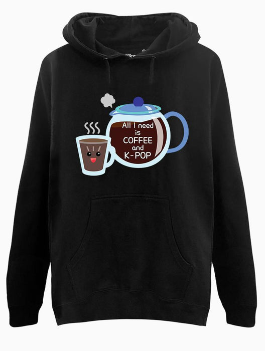 Coffee & K-Pop Toon Hoodie Hoodies AKP Unisex Black Small
