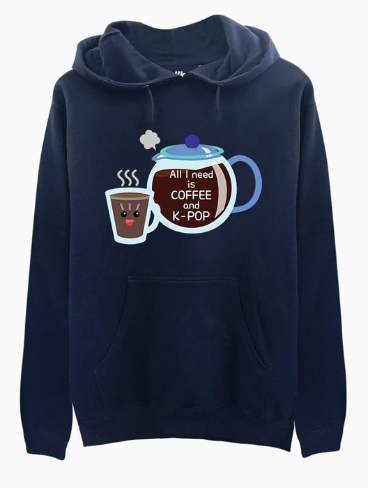 Coffee & K-Pop Toon Hoodie Hoodies AKP Unisex Navy Small