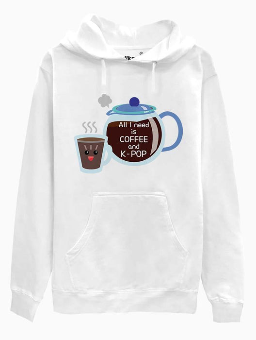 Coffee & K-Pop Toon Hoodie Hoodies AKP Unisex White Small