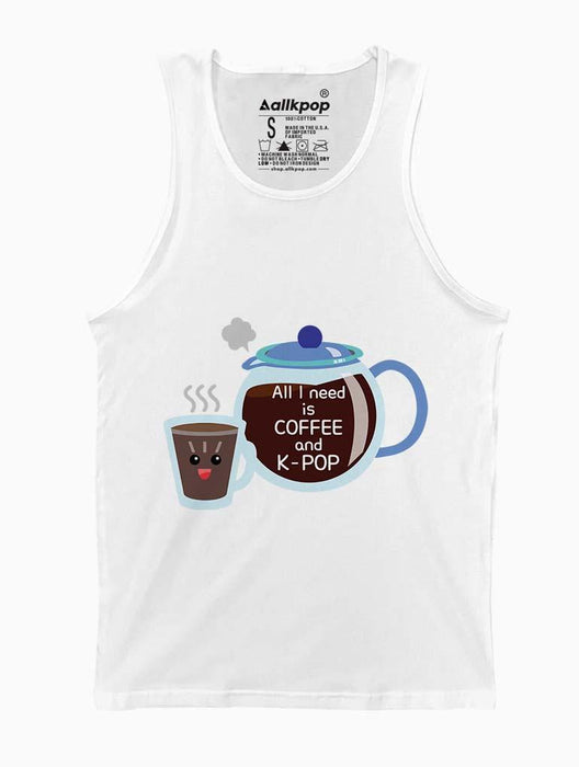 Coffee & K-Pop Toon Tank Tanks AKP Unisex White Small