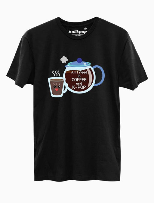 Coffee & K-Pop Toon Tee Tees AKP Male Black Small
