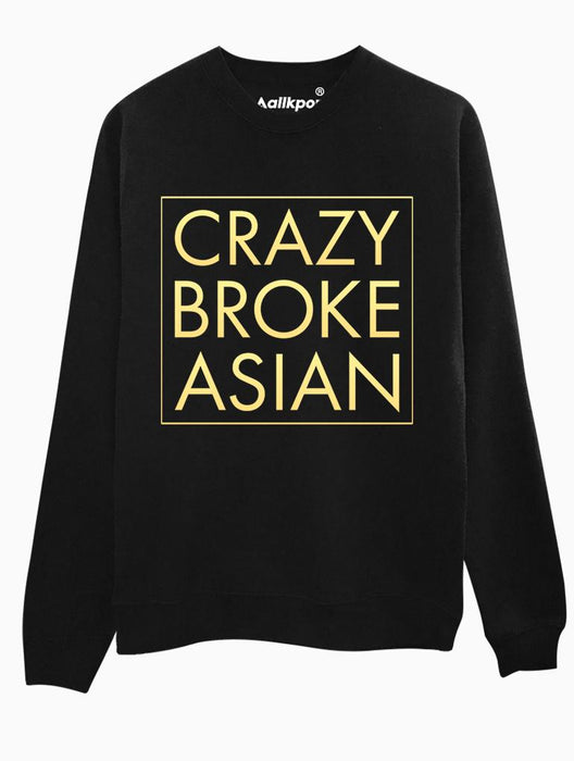 Crazy Broke Asian Crew Crews AKP Unisex Black Small