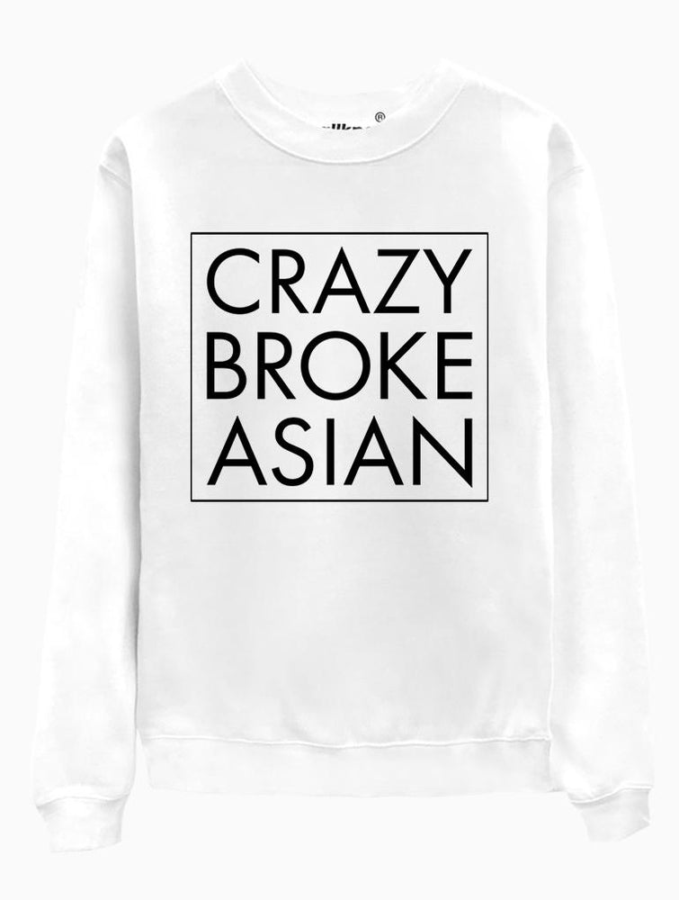 Crazy Broke Asian Crew Crews AKP Unisex White Small
