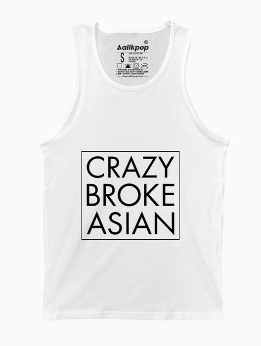 Crazy Broke Asian Tank Tanks AKP Unisex White Small