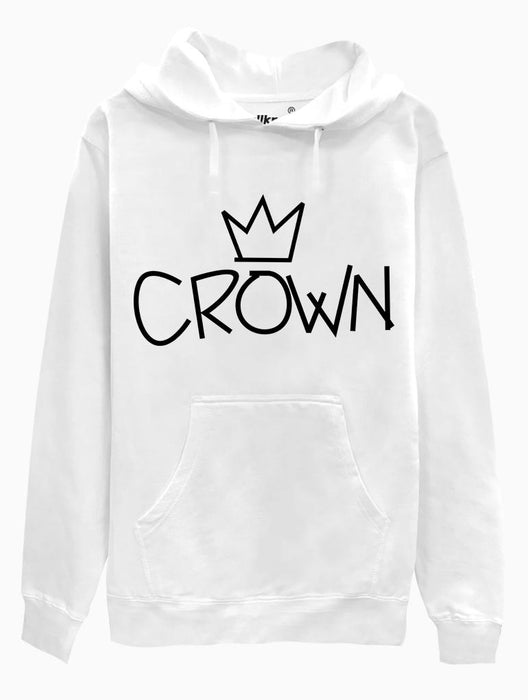 Crown Hoodie Hoodies AKP Unisex White Small