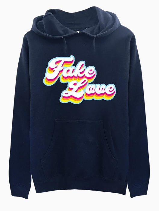 Fake Love Retro Hoodie Hoodies AKP Unisex Navy Small