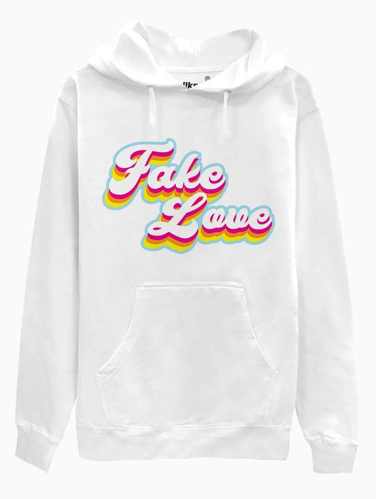 Fake Love Retro Hoodie Hoodies AKP Unisex White Small