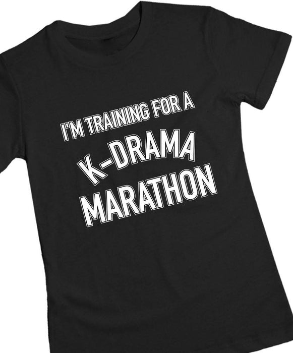 K-Drama Marathon Tee Tees AKP Female Black Small