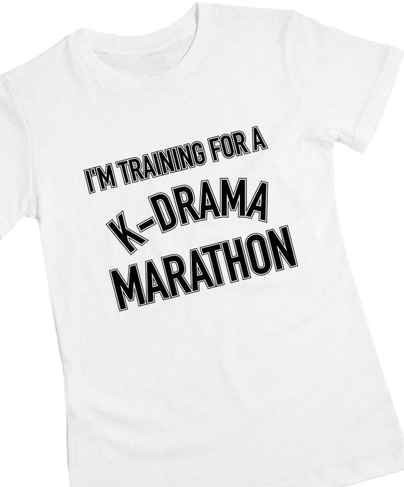 K-Drama Marathon Tee Tees AKP Female White Small