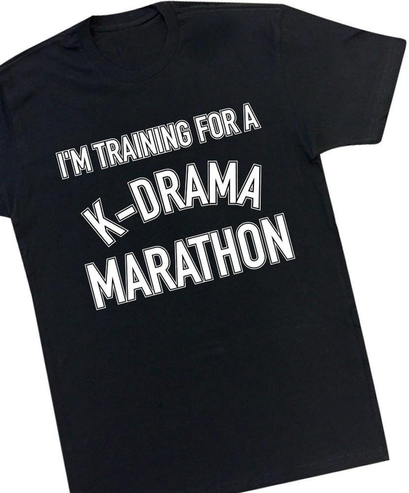 K-Drama Marathon Tee Tees AKP Male Black Small