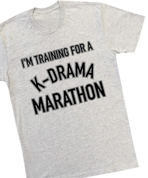 K-Drama Marathon Tee Tees AKP Male Grey Small