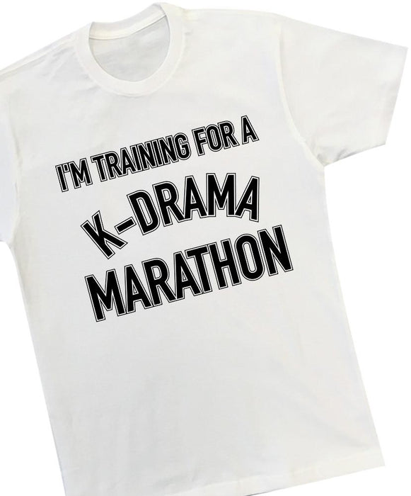 K-Drama Marathon Tee Tees AKP Male White Small