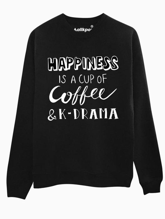 K Happiness Crew Crews AKP Unisex Black Small