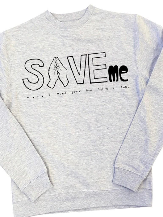 Save Me Crew Crews AKP Unisex Grey Small