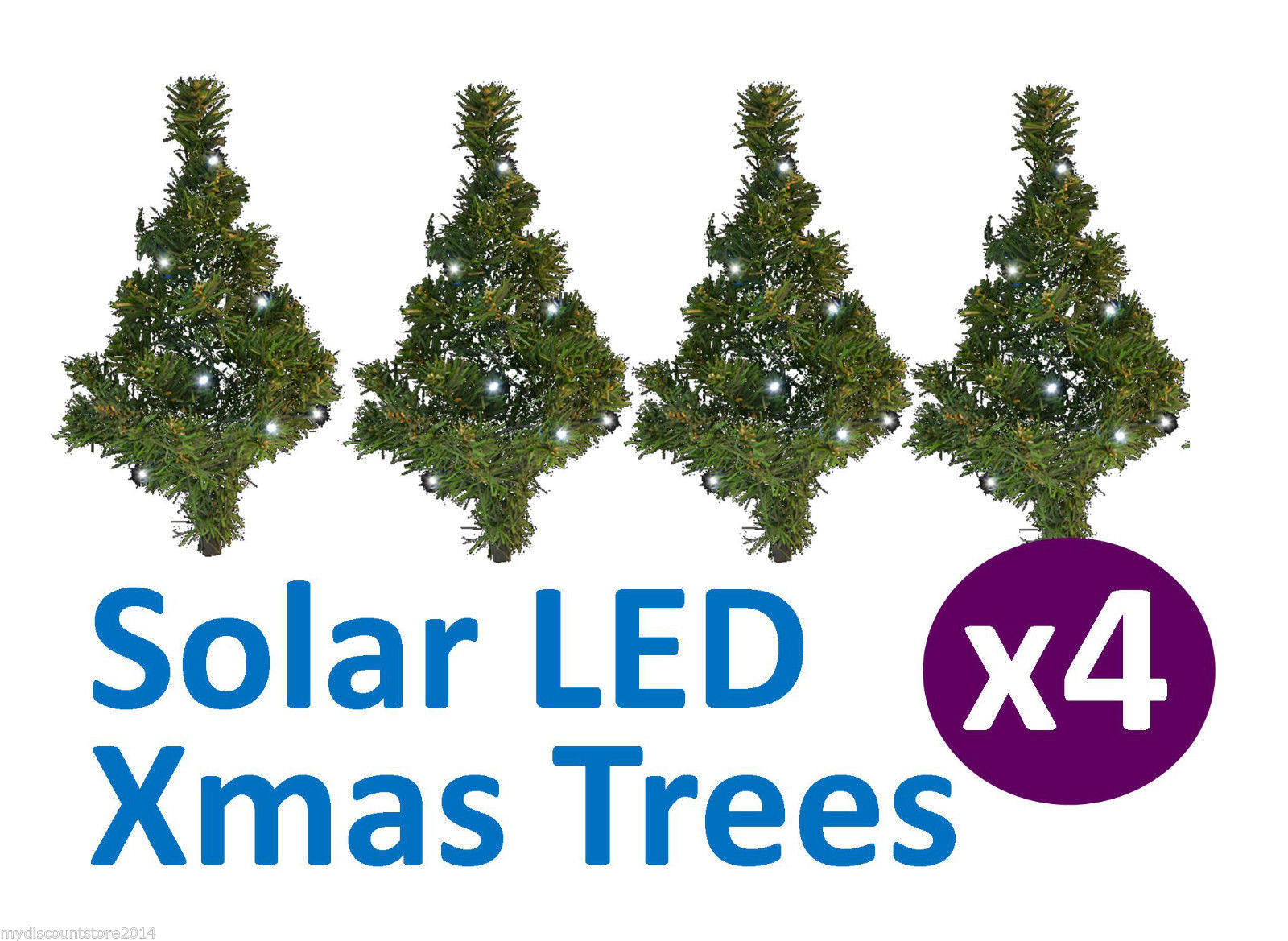 2 x set of 4 christmas tree solar path lights