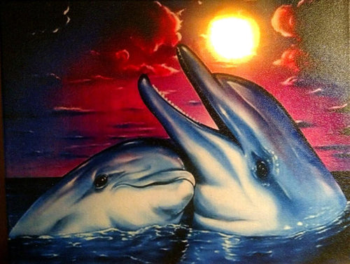 Dolphin Love Canvas