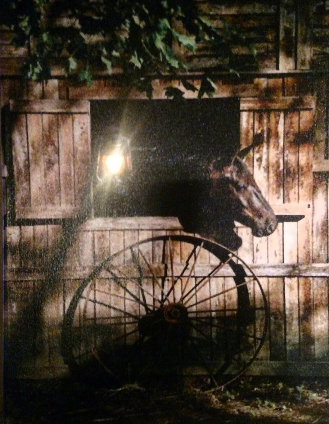 Horse and Wagon Wheel Canvas