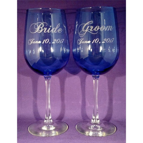 Bride & Groom Wine Glasses Blue with Clear Stem and Wedding Date - Incredible Keepsakes