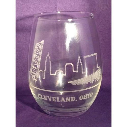 Cleveland Skyline Clear Stemless Wine Glasses (Set of 4) - Incredible Keepsakes