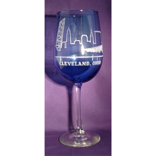 Cleveland Skyline Blue Wine Glasses (Set of 4) - Incredible Keepsakes