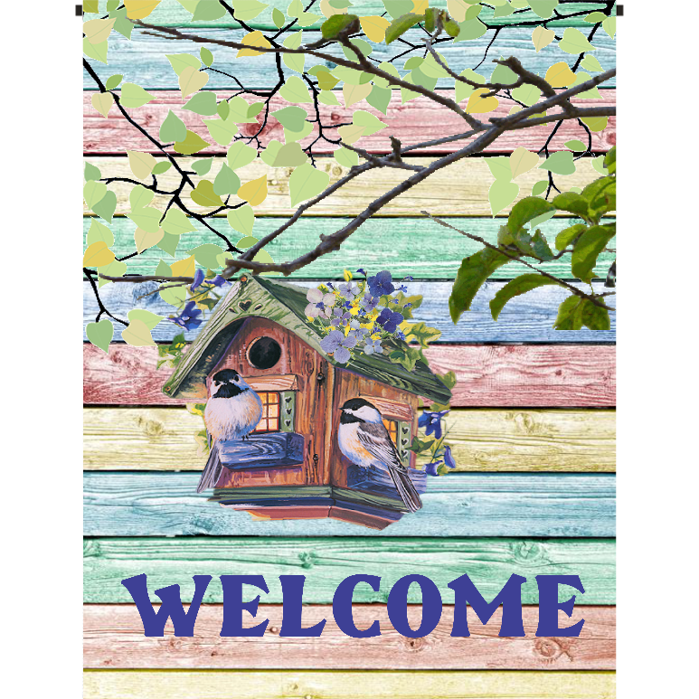Birdhouse - Welcome Garden Flag - Incredible Keepsakes