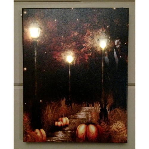 Light Post with Pumpkins Canvas - Incredible Keepsakes