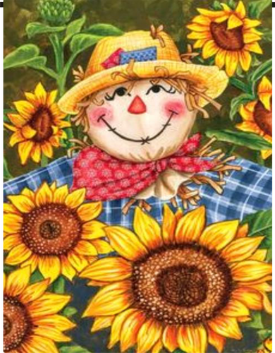 Scarecrow with Sunflowers Garden Flag