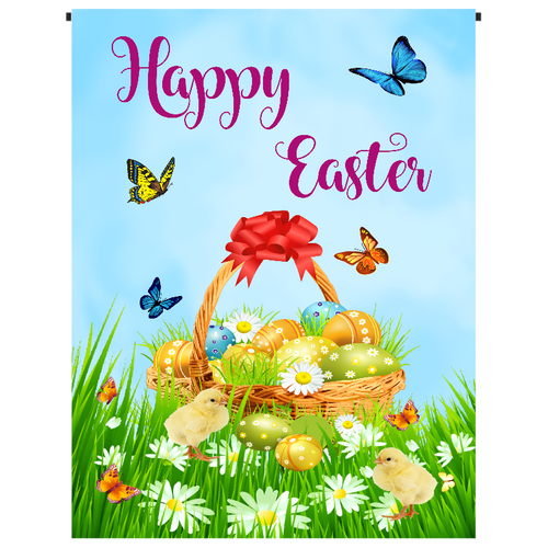 Happy Easter with Basket Garden Flag - Incredible Keepsakes