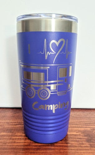 I Heart Camping Tumbler-Travel Trailer