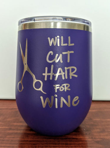Will Cut Hair Stemless Wine Glass