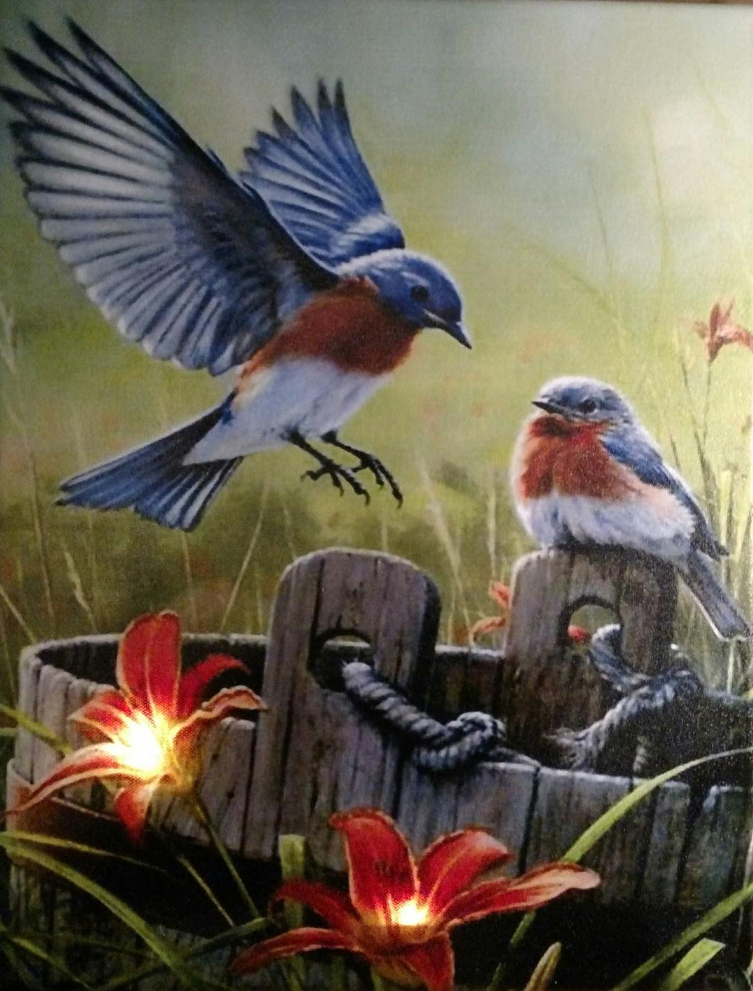 Blue Birds on a Bucket Canvas - Incredible Keepsakes