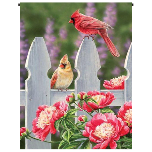 Cardinals on the Fence Garden Flag - Incredible Keepsakes
