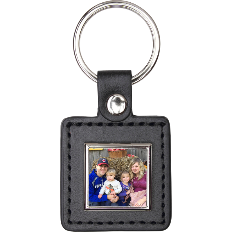 Custom Black Square Keychain - Incredible Keepsakes