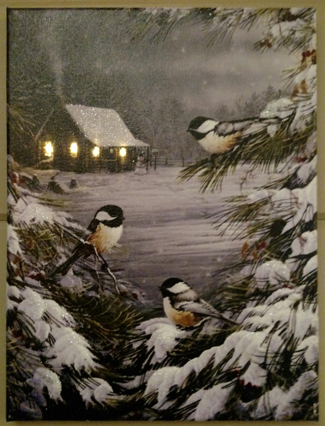 Cabin and Chickadees Canvas