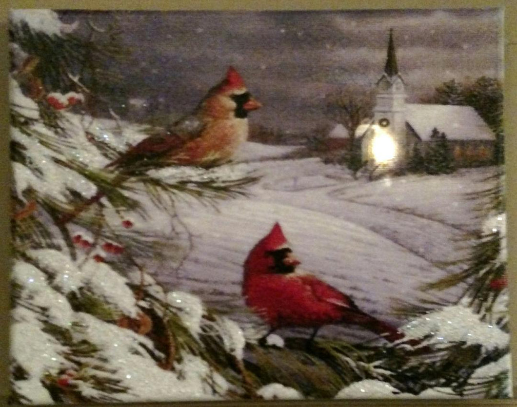 Cardinals by the Church Canvas