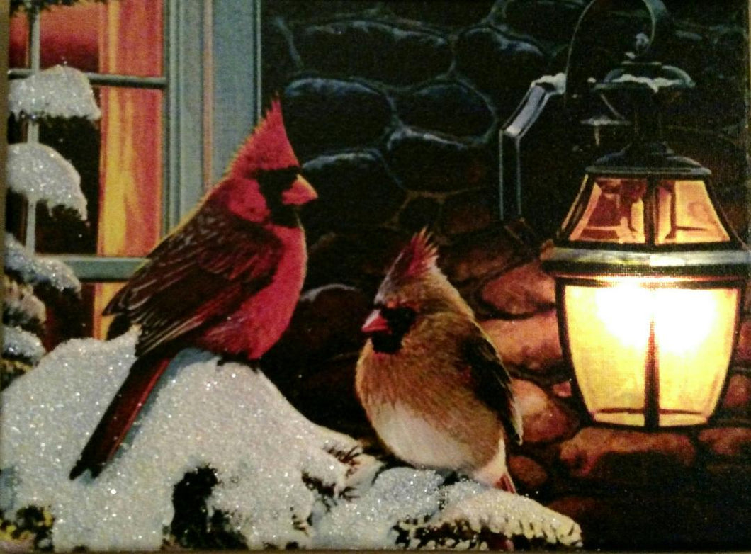 Cardinals with Lantern Canvas