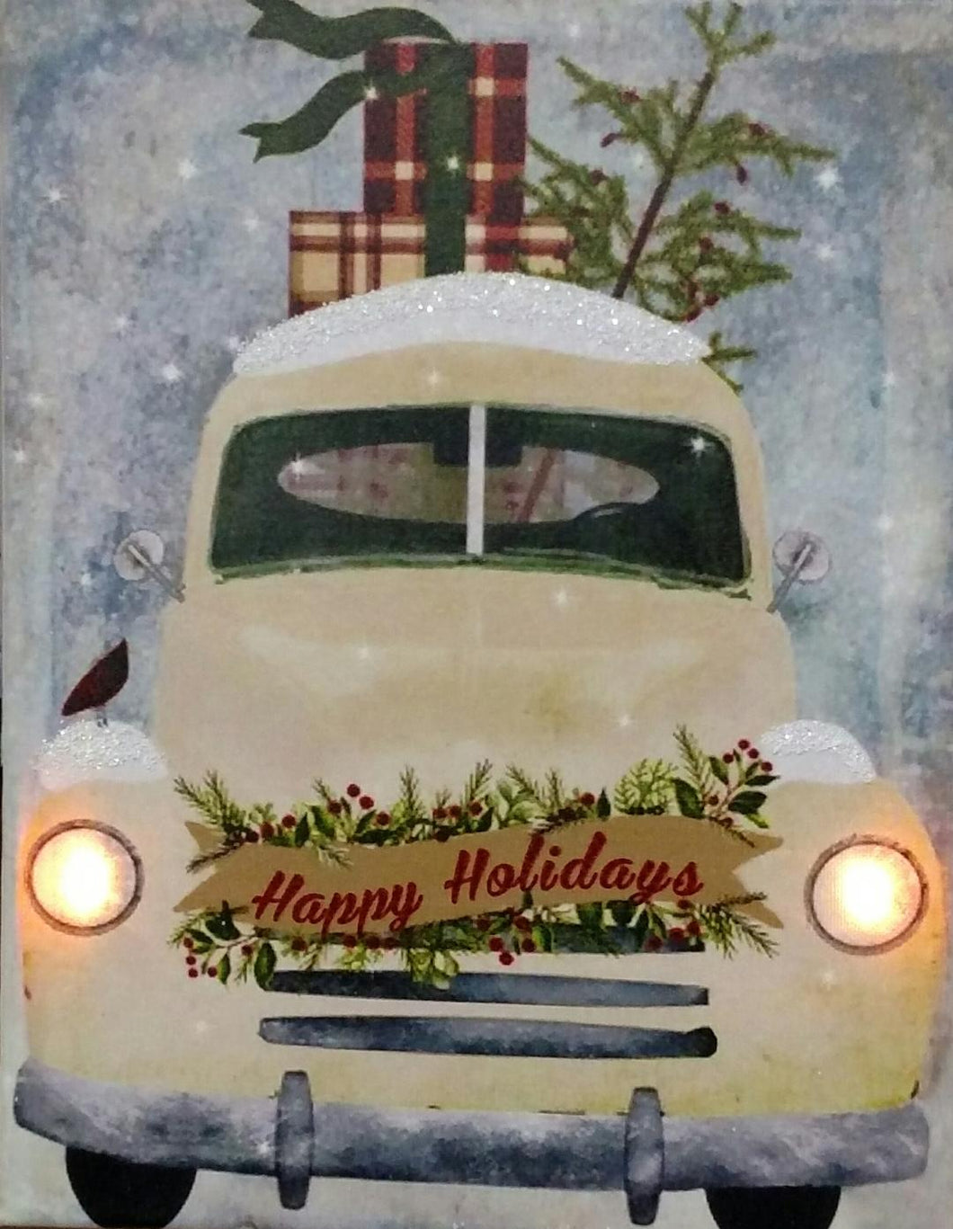 Yellow Happy Holidays Truck Canvas