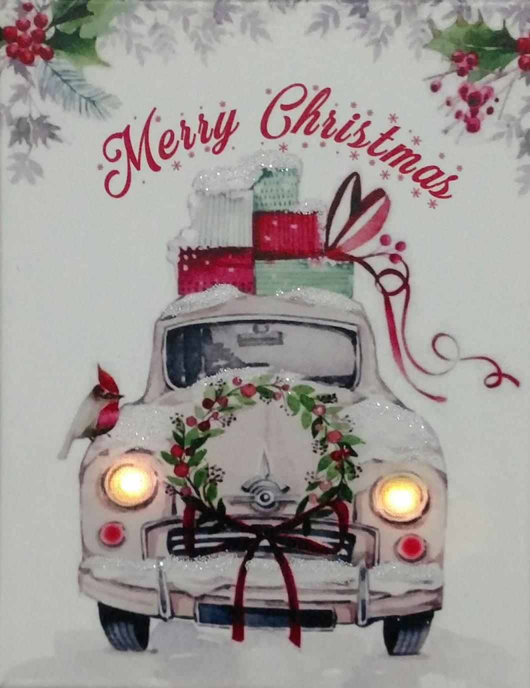 White Merry Christmas Truck Canvas