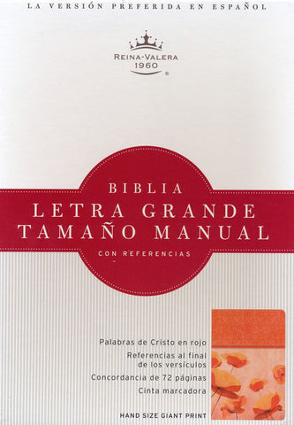 Biblia RVR 1960 Letra Gde. Tam.Manual Ref., Piel Imit. Dam./Coral (RVR 1960 Hand Size GtPt.Ref. Bible, Damask/Coral LeatherT.)