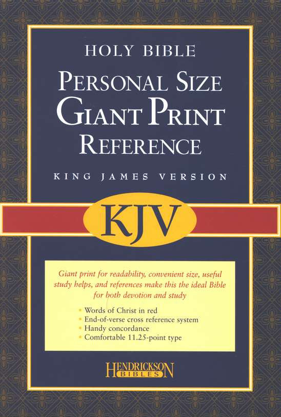KJV Personal-Size Giant-Print Reference Bible--imitation leather, burgundy