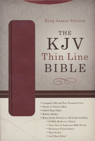 KJV Thinline Bible--soft leather-look, burgundy