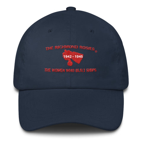 THE RICHMOND ROSIES NAVY BLUE with RED ONLY LETTERING BASEBALL CAP