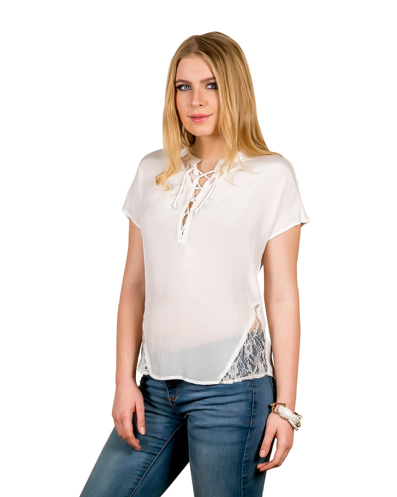 Knot Me Up Lace Antique White Top