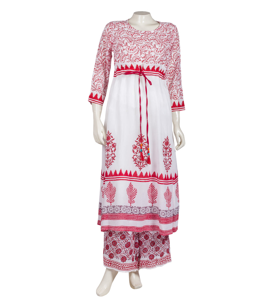 ANARKALI STYLE SCOOP NECK EMPIRE CUT KURTA WITH PEGGED PALAZZOS