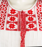 White and Red Embroidered Top - MISSPRINT