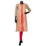 Red / Beige Chanderi Hand Block Printed Jacket Indian Kurta